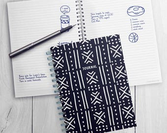 Black Moroccan Fashion Journal 7x9 Notebook with Textured Durable Cover Material