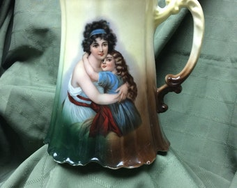 Z.S & Co Bavaria C. 1880-1910 Hand Painted Porcelain Pitcher with Gorgeous Portrait/Cameo of Mother and Daughter