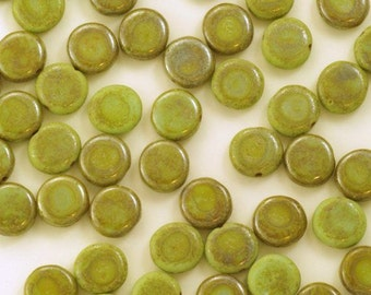 Czech Glass Opaque Rustic Green Picasso Coin Beads 9mm - 25