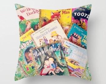 Little Golden Book Pillow- INSERT INCLUDED: Vintage books, Children's books, nursery, home decor, girl's room, boy's room, library