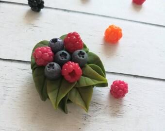 berry brooch- brooch with raspberries - brooch with blueberries - blueberry - raspberry - stylish brooch - birthday gift