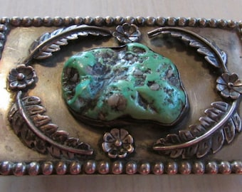 Large Handmade Nickel and Turquoise Belt Buckle.