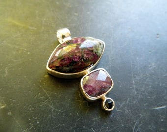 Pendant, sterling silver, Ruby, Onyx, Eudialyt, jewelry, women, three stones