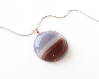Pendant Necklace, Earthy Gray Brown & White Art Glass