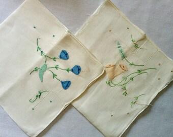 Antique Appliqued Handkerchiefs