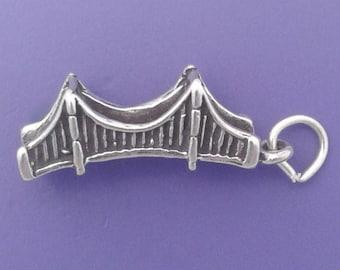 GOLDEN GATE Bridge Charm .925 Sterling Silver, San Francisco Pendant - sc397
