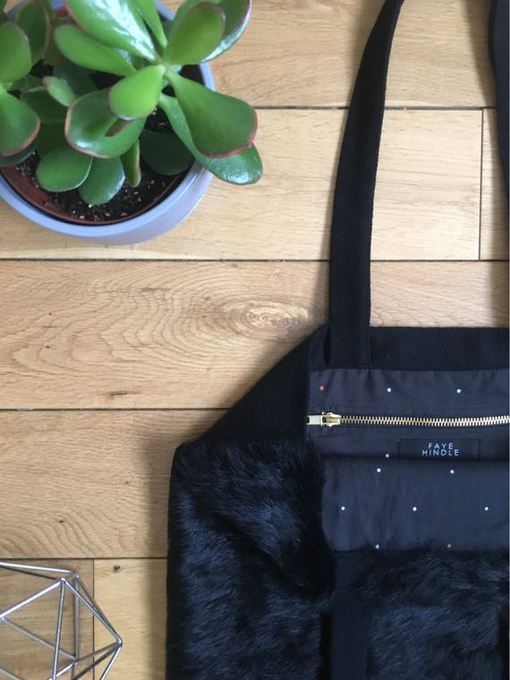Black rabbit fur Tote bag with herringbone wool straps and backing, fully lined.