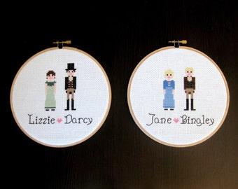 Pride & Prejudice Jane Austen Cross Stitch Finished Hoop Set Wall Hanging Art Decor