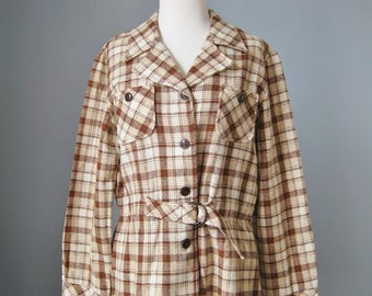 Plaid Jacket / Vtg 70s / College Town Brown and Cream Belted Wool Plaid Jacket / Size 9 Size 10