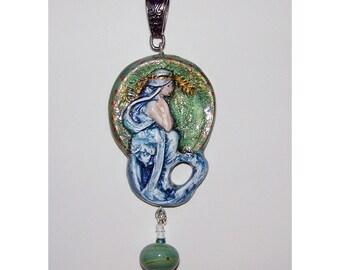 Stupendous Art Nouveau Hand Painted  Pendant