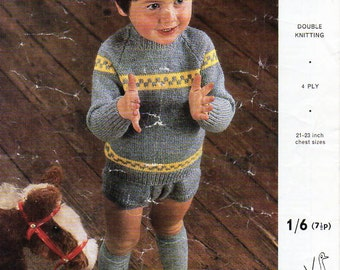 baby / childs sweater shorts set knitting pattern pdf 4ply or DK jumper pants trousers rompers Vintage 60s 21-23 inch 4ply DK 8ply download