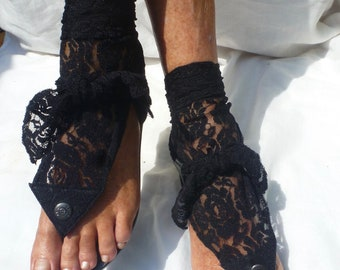 Boho Hippy-chic  Sole Pakashoes Adaptable With Strech Black & Off White Lace Switchable Free Shipping