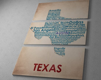 Texas City Map Gallery Wrapped Canvas Triptych Print