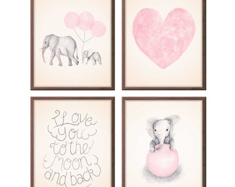 Baby Girl Nursery Art Pink and Gray Nursery Art, Elephant Nursery Art, Watercolor Heart, Elephant Paintings, Set of Four Prints - S409