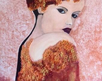 Woman portrait - orange acrylic, crocheted lace application