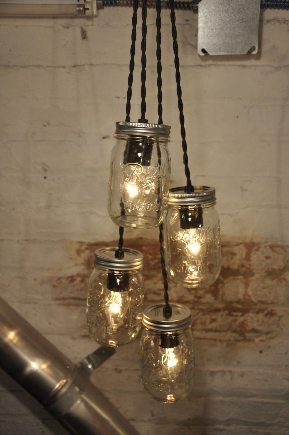 & 4 Mason Jar Chandelier Pendant Light Fixture Beautiful Rustic Industrial