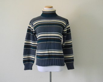 FREE usa SHIPPING Vintage ladies knit turtleneck sweater hipster blue stripes sweater cotton size M