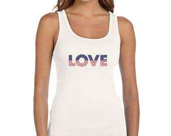 LOVE USA American Flag 4th of July - Women's Tank Top Sleeveless Shirt