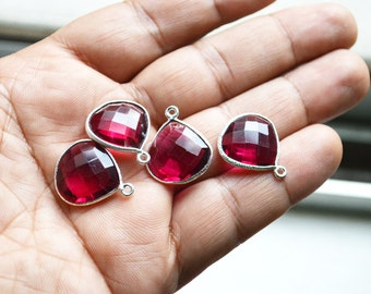 92.5 Silver Plated RubyLight Pink Quartz Heart Shape Faceted Pendant  ,4 Piece of 17mm