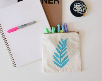 fern leaf hand printed tropical bahama blue pouch gift SALE