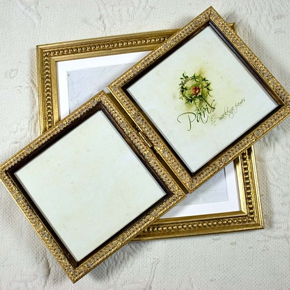 5x5 or 4x6 inch Pale Gold Hinged Double Frame/Anniversary/Wedding ...