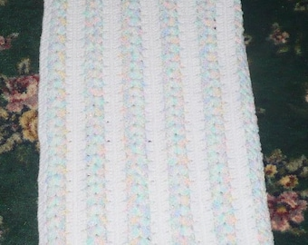 Pastels And White Crochet Afghan - Read Below -  41 x 88 Approx.