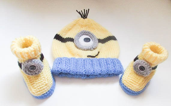Knitting Pattern Minion Hat Minion Booties hat booties beanie Minion ...