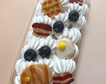 Iphone 7 decoden polymer clay breakfast case fits iphone 7 whip cute fake food