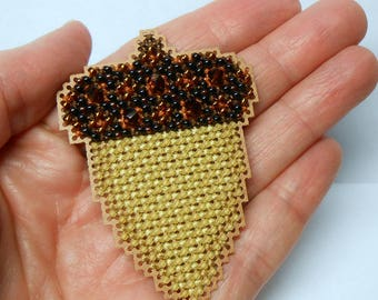 Acorn Cross Stitched and Beaded Ornament, Magnet, or Pin - Free U.S. Shipping