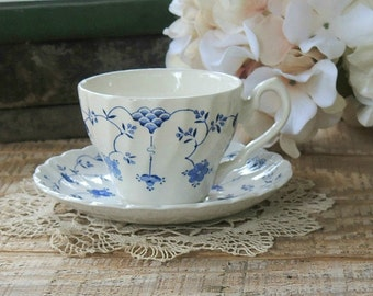 Myott Finlandia Staffordshire Teacup and Saucer, Blue White China Tea Cup Set, Tea Party, French Farmhouse, Cottage Chic