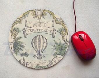 Vintage Balloon Mousepad, Office Mousepad, Computer Mouse Pad, Fabric Mousepad