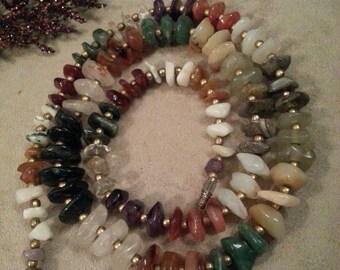 Stone Beaded Necklace, Agate, Assorted Colors, Vintage, Green Black, Tan, Well Made