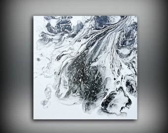 Black and White Painting 10x10 Abstract Painting Acrylic Painting Small Wall Art Canvas Modern Home Decor Wall Hanging
