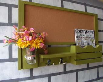 Large Corkboard--Message Center--Letter holder--Magazine Holder--2 Double Hooks--Mason Jar Vase--Message Board