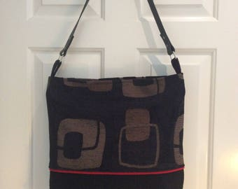Shoulder Bag, Tote Bag, Leather Strap, Women's Bag, Recycled textiles, Eco Friendly, one Off, Handmade, Unique