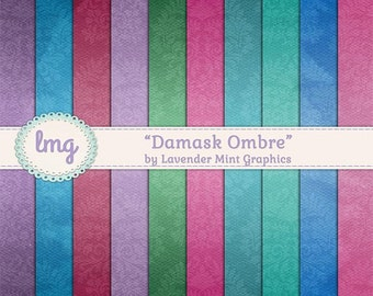 Ombre Watercolor Digital Papers, Blue, Pink, Green, Purple, Scrapbook Backgrounds, Gradient Background, Watercolor Papers, Instant Download