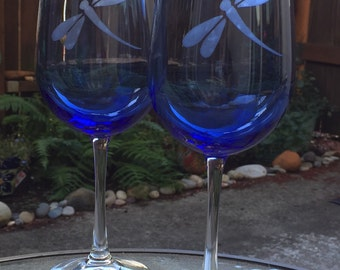 Blue Dragonfly Etched Wine Glass - Dragonflies - Etched Glass - Blue Glass