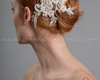 Ivory Lace Bridal Hair Piece, Pearl and Lace Wedding Hair Comb, Birdcage Fascinator - Jillian