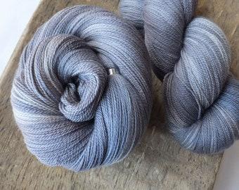 Softly Steel - Hand Dyed Merino Silk Lace Yarn