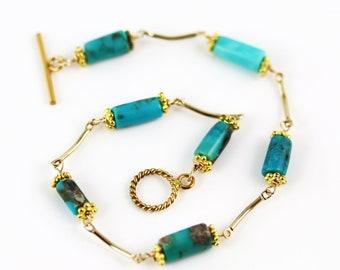 Turquoise and Gold Bracelet - 8 inches - Turquoise Bracelet - Sleeping Beauty Turquoise