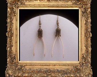 SALE REDUCED LOVED TO DEATH Gothic Victorian Genuine Wishbone Earrings