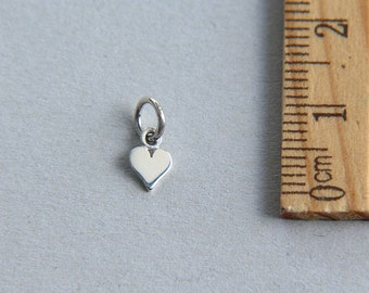 Tiny Heart Charm, 925 Sterling Silver Heart Charm, Small Heart Charm, Love Charm, Tiny Silver Heart, 7mm ( 1 piece )