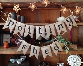 Burlap Potting Shed Bunting, Potting Shed Bunting, Potting Shed Garland, Potting Shed Garland, Garden Banner, Burlap Gardening Bunting