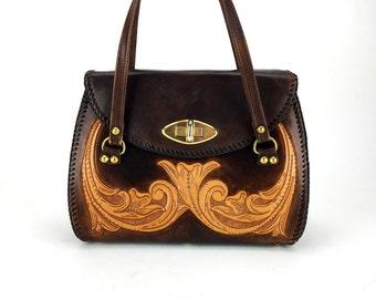 Tooled Leather Purse - Vintage Handbag || Two Tone Hand Tooled Leather Bag | Shoulder Bag
