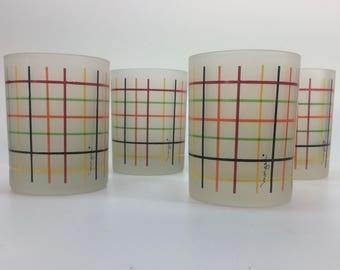 Retro 1950's Colorful Morgan Drinking Glasses Signed