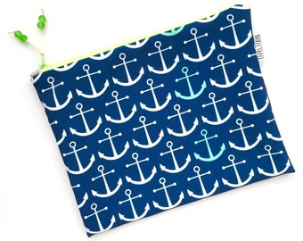 Navy Anchors Wet Bag, Water Resistant Bikini Bag, Nautical Bag Zipper Pouch, Recycled Canvas, Wipe-able Handmade Gift for Mom, Diaper Mess