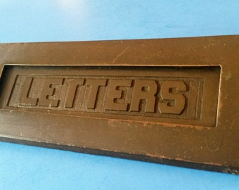Antique Letter Slot Door, Horizontal with Interior Frame, Cast Bronze, ca. 1915
