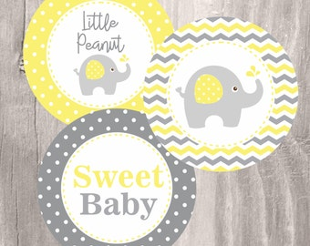 Elephant Printable Centerpieces, Yellow and Grey Elephant Baby Shower Centerpieces, Instant Download, Neutral Baby Shower Decoration