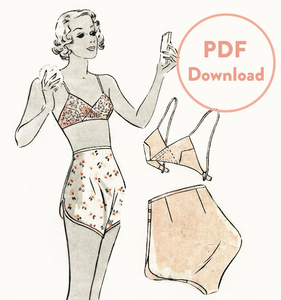 vintage lingerie sewing pattern 1930s 30s soft bra and tap shorts ...