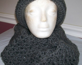 City Sophisticate Hat with Twisted Infinity Scarf In Chunky Charcoal